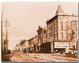 Main Street Houston, circa 1864. Houston's economy had been bankrupted by the Union Blockade that closed the Gulf of Mexico.
