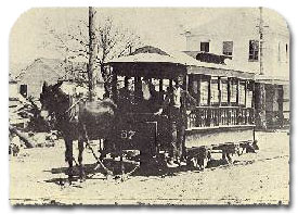A MULE-DRAWN STREETCAR, a service started by the Houston City Railroad Co. in 1868